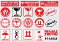 Fragile signs for packaging Royalty Free Stock Photo