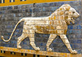 Fragment of ancient frescoes the babylonian ishtar gate Stock Images