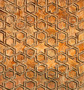 Fragment of an antique handmade carved wooden door Royalty Free Stock Photo