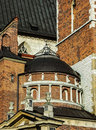 Fragment of building of royal castle vavel cracov poland in sunny day Royalty Free Stock Photo
