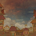 Fragment of a city tile roofs with red sky view roof tiles and cloudy on the background Stock Photos