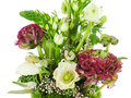 Fragment of colorful bouquet isolated on white background close Royalty Free Stock Photo