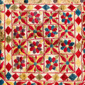 Fragment of colorful retro tapestry textile pattern with handmad handmade floral ornament and flowers as background Royalty Free Stock Images