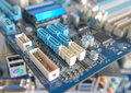 Fragment of computer main board shallow dof Royalty Free Stock Photography