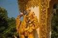 A fragment of decor of the Golden gate. Mya Tha Lyaung Reclining Buddha. Bago. Myanma. Burma.