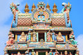 Fragment of decorations of the Hindu temple Sri Mariamman Royalty Free Stock Photo
