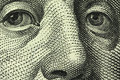 A fragment of a denomination in hundred american dollars with portrait benjamin franklin Royalty Free Stock Photography
