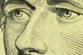 A fragment of a denomination of ten us dollar with portrait alexander hamilton Stock Photo