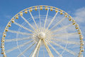 A fragment of the ferris wheel on white background filmed on island jersey in summer Stock Photography