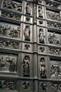 Fragment of the iron door of the church Royalty Free Stock Photos