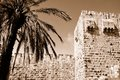 Fragment of jerusalem old city wall israel sepia Royalty Free Stock Images
