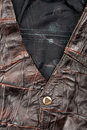 Fragment of leather vest Royalty Free Stock Images
