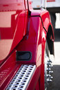Fragment of the modern red semi truck Royalty Free Stock Photo