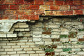 Fragment of old abandoned red and white brick wall Royalty Free Stock Photo