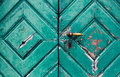 Fragment of old and dilapidated doors Royalty Free Stock Photo