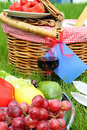 Fragment of picnic setting with fruit Stock Photo
