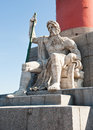 Fragment of the rostral column in saint petersburg russia sunny day Stock Photography