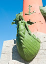 Fragment of the rostral column in saint petersburg russia sunny day Stock Images