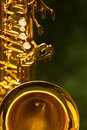 Fragment of the saxophone closeup in dark colors Stock Photo
