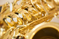 Fragment saxophone detail of valves closeup Stock Images