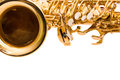 Fragment saxophone on a white background Stock Images