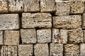 Fragment of shell limestone brick wall Royalty Free Stock Images