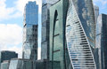 Fragment of skyscrapers of financial and business center Moscow-City Royalty Free Stock Photo