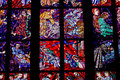 Fragment of stained glass window in the Cathedral of St. Vitus. Royalty Free Stock Photo