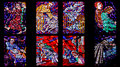 Fragment of stained glass window in the Cathedral of St. Vitus Royalty Free Stock Photo