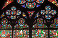 Fragment of stained glass windows. Notre Dame de P Royalty Free Stock Photo