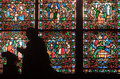 Fragment of stained glass windows. Notre Dame de P Royalty Free Stock Image