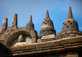 Fragment of a stone buddhist borobudur temple in indonesia java Royalty Free Stock Photos