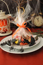 Fragment table setting for Halloween Royalty Free Stock Photography