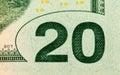 Fragment of twenty dollar bill close up Stock Photo