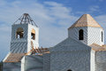 Fragment of under construction church the top part orthodox on blue Stock Photo