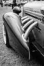 Fragment of vintage car auburn speedster paaren im glien germany may black and white the oldtimer show in mafz Royalty Free Stock Photography
