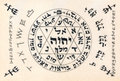 Fragment of vintage handwritten kabbalistic prayer text useful a as background Royalty Free Stock Image