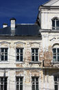 Fragment of vintage shabby old public building in classical styl Royalty Free Stock Photo