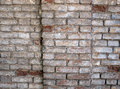 Fragment of a wall of an old red brick with white coating Royalty Free Stock Photo