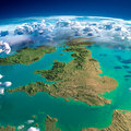 Fragments of the planet earth united kingdom and ireland highly detailed with exaggerated relief translucent ocean clouds Royalty Free Stock Photos