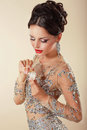 Fragrance. Young Woman with Perfume Bottle Royalty Free Stock Photo