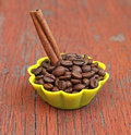Fragrant coffee beans in silicone mold Royalty Free Stock Image
