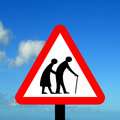 Frail pedestrians likely to cross road ahead or blind or disabled if shown Stock Photo