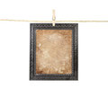 Frame with aged paper on a line Royalty Free Stock Photos