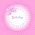 Frame with beads and bow gentle card template for your design Royalty Free Stock Images