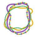 Frame with beads in Mardi Gras colors. Royalty Free Stock Photo