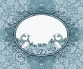 Frame with bird and flower on background of lace and heart Royalty Free Stock Photo