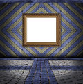 Frame on blue and yellow vintage plank background Stock Images
