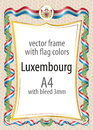 Frame and border  with the coat of arms and ribbon with the colors of the Luxembourg flag Royalty Free Stock Photo