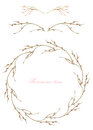 Frame border, decorative floral elements and wreath of the  branches with buds painted in a watercolor on a white background, gree Royalty Free Stock Photo